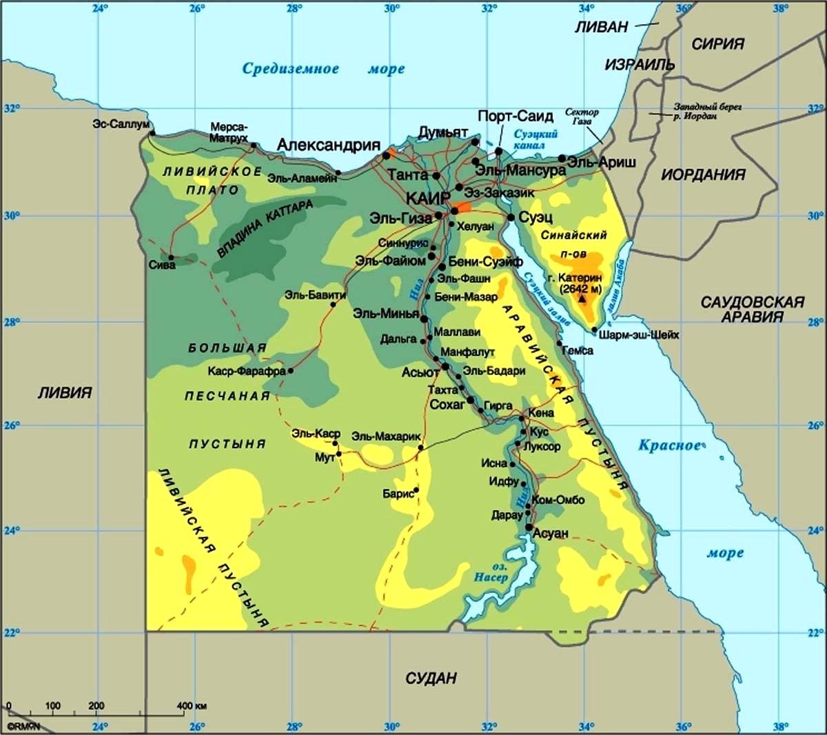Если посмотреть на карту Египта, то можно увидеть, что вся курортная