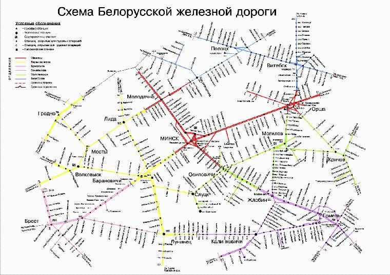 карта железных дорог Беларуси