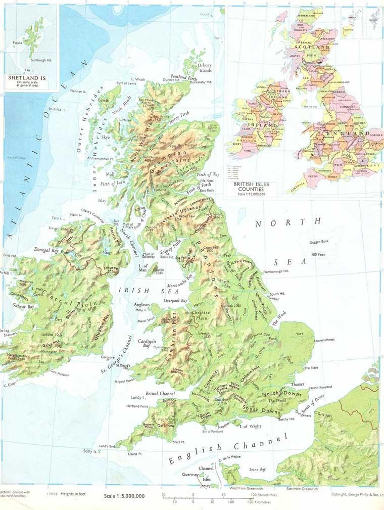 Физическая карта великобритании