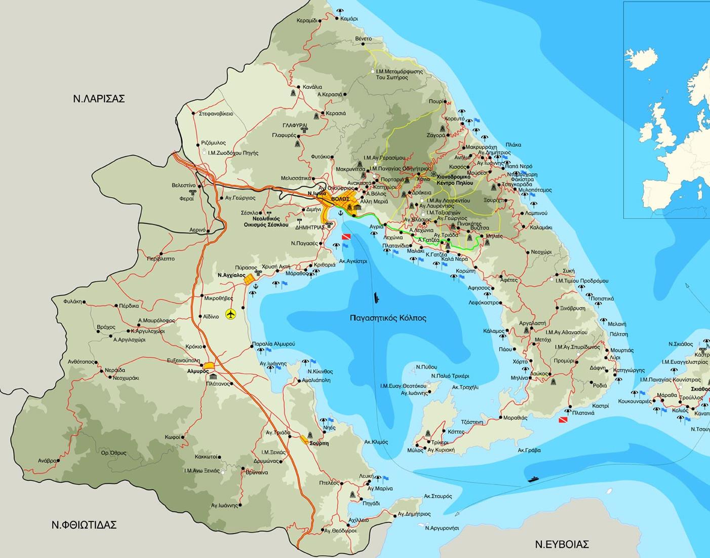 Pelion Greece  city images : Pelion Greece Map