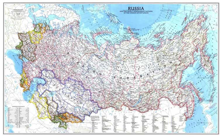 Скачать политическую карту россии и